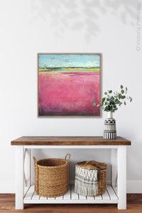 "Pink abstract beach artwork ""Painted Lady,"" giclee print by Victoria Primicias, decorates the entryway."