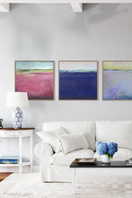 "Load image into Gallery viewer, Pink abstract beach wall decor ""Painted Lady,"" canvas wall art by Victoria Primicias, decorates the living room."