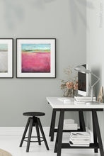 "Load image into Gallery viewer, Pink abstract beach artwork ""Painted Lady,"" canvas print by Victoria Primicias, decorates the office."