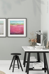 "Pink abstract beach artwork ""Painted Lady,"" canvas print by Victoria Primicias, decorates the office."