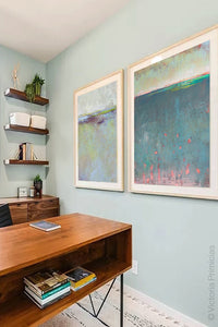 "Unique abstract beach artwork ""Patrician Lake,"" printable art by Victoria Primicias, decorates the office."