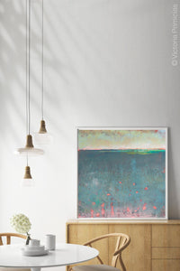 "Unique abstract coastal wall art ""Patrician Lake,"" digital artwork by Victoria Primicias, decorates the dining room."