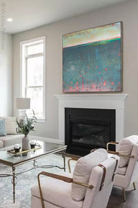 "Unique abstract beach artwork ""Patrician Lake,"" digital artwork by Victoria Primicias, decorates the fireplace."