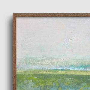 "Closeup detail of square contemporary abstract landscape painting ""Peridot Pastures,"" printable wall art by Victoria Primicias"