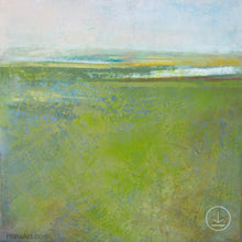 "Load image into Gallery viewer, Square contemporary abstract landscape painting ""Peridot Pastures,"" printable wall art by Victoria Primicias"