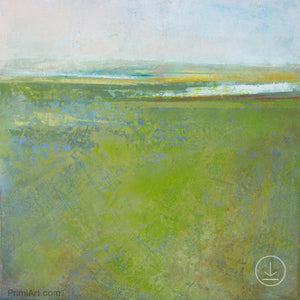 "Square contemporary abstract landscape painting ""Peridot Pastures,"" printable wall art by Victoria Primicias"
