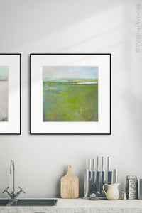 "Square contemporary abstract coastal wall art ""Peridot Pastures,"" printable wall art by Victoria Primicias, decorates the kitchen."