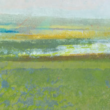 "Load image into Gallery viewer, Closeup detail of contemporary abstract landscape art ""Peridot Pastures,"" canvas wall art by Victoria Primicias"