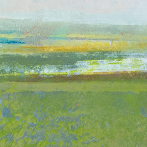 "Closeup detail of contemporary abstract landscape art ""Peridot Pastures,"" canvas wall art by Victoria Primicias"