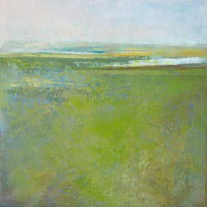 "Contemporary abstract landscape painting ""Peridot Pastures,"" giclee print by Victoria Primicias"