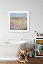 "Load image into Gallery viewer, Colorful abstract landscape painting ""Pink Parade,"" downloadable art by Victoria Primicias, decorates the bath"