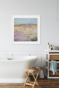 "Colorful abstract landscape painting ""Pink Parade,"" downloadable art by Victoria Primicias, decorates the bath"