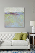 "Load image into Gallery viewer, Large abstract ocean art ""Plum Passages,"" wall art print by Victoria Primicias, decorates the living room."
