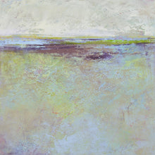 "Load image into Gallery viewer, Large abstract beach painting ""Plum Passages,"" metal print by Victoria Primicias"
