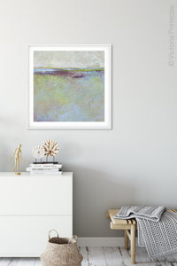 "Large abstract beach wall art ""Plum Passages,"" fine art print by Victoria Primicias, decorates the entryway."