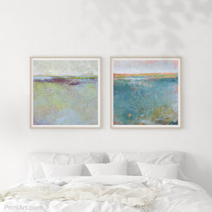 "Large abstract ocean art ""Plum Passages,"" wall art print by Victoria Primicias, decorates the bedroom."