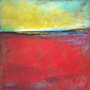 "Contemporary abstract seascape painting ""Poppy Love,"" digital art by Victoria Primicias"