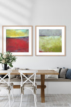 "Load image into Gallery viewer, Contemporary abstract beach wall decor ""Poppy Love,"" downloadable art by Victoria Primicias, decorates the dining room."