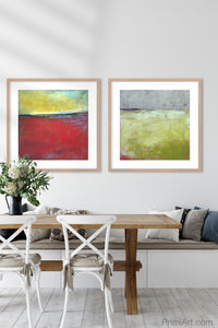 "Contemporary abstract beach wall decor ""Poppy Love,"" downloadable art by Victoria Primicias, decorates the dining room."
