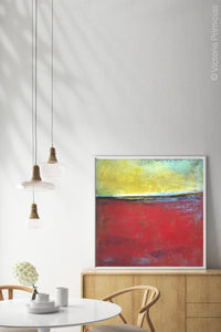"Contemporary abstract beach wall decor ""Poppy Love,"" digital art by Victoria Primicias, decorates the dining room."