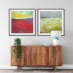 "Contemporary abstract beach wall art ""Poppy Love,"" digital art landscape by Victoria Primicias, decorates the foyer."