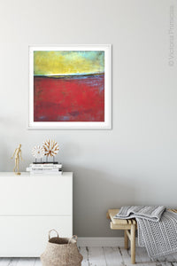 "Contemporary abstract beach wall art ""Poppy Love,"" digital artwork by Victoria Primicias, decorates the hallway."