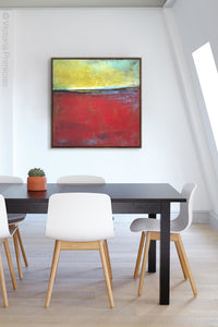 "Contemporary abstract seascape painting ""Poppy Love,"" digital art by Victoria Primicias, decorates the office."