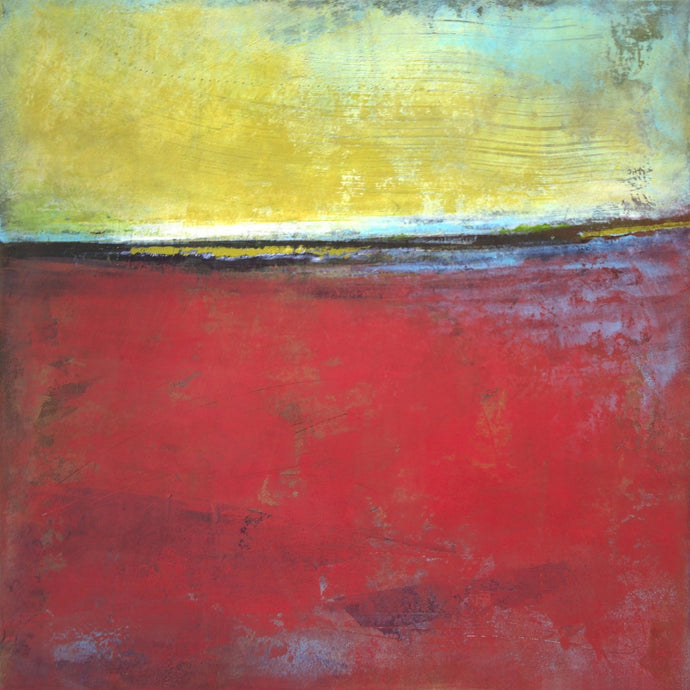 Red and yellow abstract seascape painting