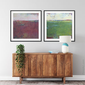 "Burgundy abstract seascape painting""Red Tide,"" digital download by Victoria Primicias, decorates the hallway."