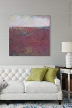 "Load image into Gallery viewer, Square abstract beach art ""Red Tide,"" canvas art print by Victoria Primicias, decorates the living room."