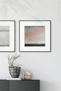 "Large abstract landscape art ""Retiring Sky,"" downloadable art by Victoria Primicias, decorates the entryway."