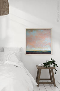 "Modern abstract landscape painting ""Retiring Sky,"" wall art print by Victoria Primicias, decorates the bedroom."