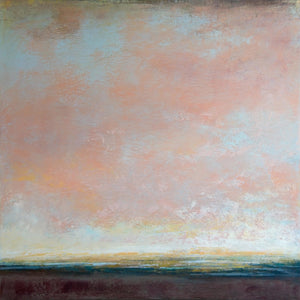 "Modern abstract landscape painting ""Retiring Sky,"" wall art print by Victoria Primicias"