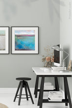 "Load image into Gallery viewer, Turquoise abstract beach wall decor ""Rising Tides,"" wall art print by Victoria Primicias, decorates the office."
