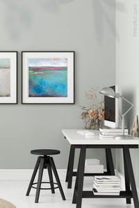 "Turquoise abstract beach wall decor ""Rising Tides,"" wall art print by Victoria Primicias, decorates the office."