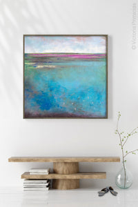"Turquoise abstract beach wall art ""Rising Tides,"" metal print by Victoria Primicias, decorates the hallway."