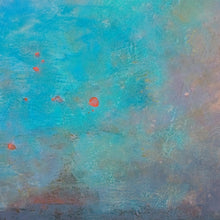 "Load image into Gallery viewer, Closeup detail of  turquoise abstract landscape painting ""Sea Mistress,"" canvas print by Victoria Primicias"