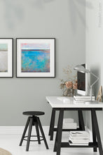 "Load image into Gallery viewer, Turquoise abstract beach artwork ""Sea Mistress,"" canvas wall art by Victoria Primicias, decorates the office."