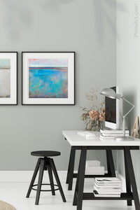 "Turquoise abstract beach artwork ""Sea Mistress,"" canvas wall art by Victoria Primicias, decorates the office."