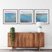 "Load image into Gallery viewer, Turquoise abstract ocean wall art ""Sea Mistress,"" canvas art print by Victoria Primicias, decorates the entryway."