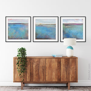 "Turquoise abstract ocean wall art ""Sea Mistress,"" canvas art print by Victoria Primicias, decorates the entryway."