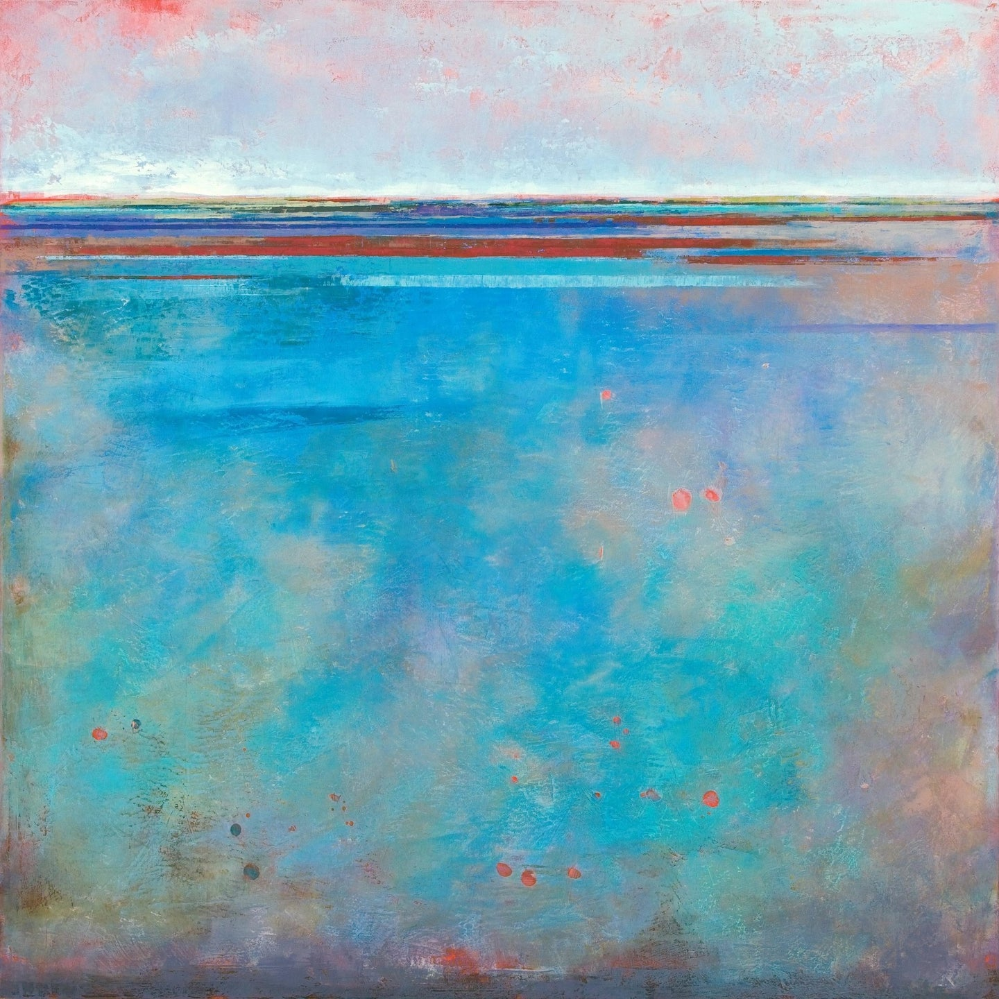 Turquoise abstract beach artwork