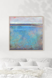 "Turquoise abstract beach artwork ""Sea Mistress,"" contemporary original art by Victoria Primicias, hangs above a bed."