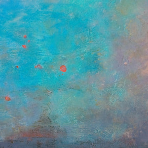 "Closeup detail of turquoise abstract seascape painting ""Sea Mistress,"" contemporary original art by Victoria Primicias"