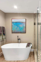 "Load image into Gallery viewer, Turquoise abstract beach painting ""Sea Mistress,"" contemporary original art by Victoria Primicias, decorates the bathroom."
