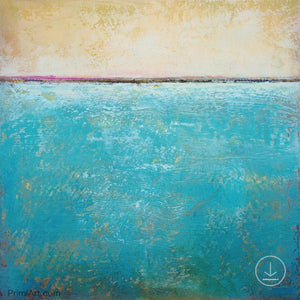 "Teal coastal abstract beach artwork ""Shallow Harbor,"" digital art landscape by Victoria Primicias"