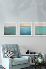 "Load image into Gallery viewer, Teal coastal abstract ocean wall art ""Shallow Harbor,"" digital download by Victoria Primicias, decorates the living room."