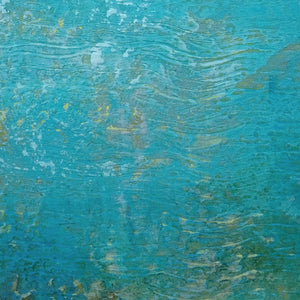 "Closeup detail of Teal coastal abstract ocean wall art ""Shallow Harbor,"" digital art landscape by Victoria Primicias"