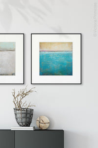 "Teal coastal abstract beach artwork ""Shallow Harbor,"" digital print by Victoria Primicias, decorates the entryway."