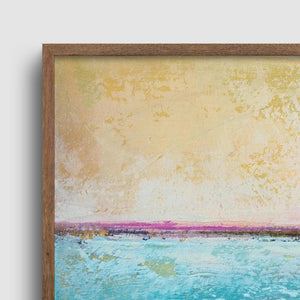 "Closeup detail of Teal coastal abstract beach artwork ""Shallow Harbor,"" digital download by Victoria Primicias"